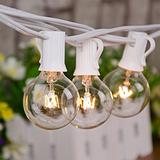 100Ft Patio String Lights, G40 Outdoor String Lights with 105 Clear Globe Edison Bulbs(5 Spare), 5 Watt Globe Bulb String Lights, Globe String Lights for Indoor Outdoor Commercial Decor, White Wire