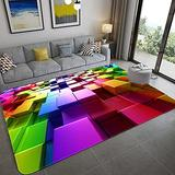 3D Optical Illusion Rug, Polyester Fiber Non-Slip Home Decor Carpets, Family Play Area Rugs, Machine Washable(Colored Grid,120x160cm)