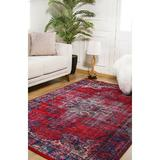 Bungalow Rose Rauchtown Oriental Red/Blue Indoor/Outdoor Area Rug Polyester/Cotton in Black, Size 56.0 W x 0.4 D in   Wayfair