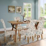 Red Barrel Studio® Dining Chair Set Of 6 Fabric Padded Side Chair w/ Solid Wood Legs, Nailed Trim(Floral) Wood/Upholstered/Fabric in Blue/Brown