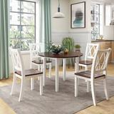 Gracie Oaks 5 Piece Dining Table Set Round Wood Drop Leaf Dining Set w/ 4 Cross Back Chairs For Dining Room/kitchen Area/small Place in Brown/White