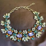 J. Crew Jewelry | Euc Jcrew Blue Green Floral Cluster Necklace | Color: Gold/Green | Size: Os