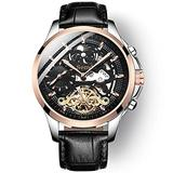 Semdu Mens Watches,Mens Automatic Skeleton Watches for Men,Genuine Leather Strap,MoonPhase,Dual Time, 5ATM Waterproof Mechanical Wrist Watches Gifts for Men (Rose Gold case Black Strap)