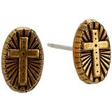 Alex and Ani Path of Symbols Stud Earrings for Women, Embossed Cross, Rafaelian Gold Finish, Post Back, 0.3 in Width