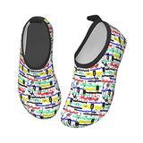 YTPass Crazy Hip-Hop Graffiti,Kids Swim Water Shoes Non-Slip Quick Dry Barefoot Aqua Pool Socks Shoes for Boys & Girls Toddler