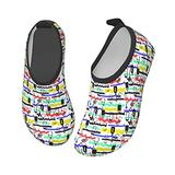 YTPass Crazy Hip-Hop Graffiti,Kids Water Shoes Quick Dry Non-Slip Toddler Water Skin Barefoot Sports Swimming Beach Pool Shoes for Boys & Girls