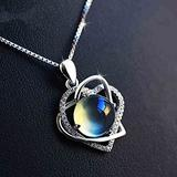 N\C Women's Pendant Necklaces Cat Eye Stone Heart Necklace Silver 925 Sterling Jewelry Women Cubic Zirconia Pendants Necklaces Accessory Gifts Jewelry,Blue