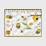 Collage Non Slip Rug pad Farmhouse Kitchen Rugs Modern Area Rug Carpet Bedroom Living Room Bees Daisies Chamomile 4 x 5 Ft