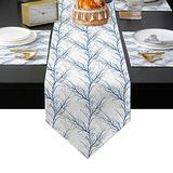 Placemats Set of 6 with Table Runner Sets 90 inches long Blue White Forest Texture Non-Slip Cotton Linen Table Runner Set Printed Tree Branches Table Mats Set for Dinner Kitchen Party Gathering