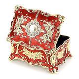 Hipiwe Vintage Jewelry Box, Small Enameled Trinket Box Organizer Rectangular Treasure Chest Box Jewelry Decorative box Keepsake Gift Box Case for Women Girls,3.7x 2.7x 2 inch
