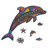 Celina Haydee Dolphin Wooden Puzzle - Dolphin Puzzle for Kids and Adult - Dolphin Unique Shape Pieces Wood Puzzle 100 Pieces