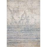 """Loloi Pandora Collection Distressed Abstract Area Rug, 5'0"""" x 8'0"""", Ivory/Blue"""