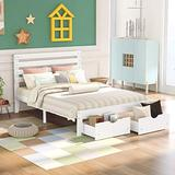 Bed Frames with Storage Drawers, Full Size Platform Bed, Wooden Platform Bed Storage Bed with Headboard and Storage Drawers, No Spring Needed (Full-White)