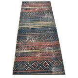 Custom Runner Antique Vintage Look Distressed Southwestern Tribal Design Runner Rug 26 inch Wide x Your Length Size Choice Antique Collection Roll Runner (Blue Grey, 21 ft x 26 in)