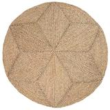 100% Natural Hand Woven Jute Round Area Rug, Natural Round Jute Rug, Farmhouse Style Braided Kitchen Area Rug, Grass Rug for Bedroom , Reversible Rustic Vintage Braided Round Jute Rug 4 ft (Star Rug)