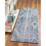 Rugs.com Oregon Collection Rug – 12 Ft Runner Light Slate Blue Low-Pile Rug Perfect for Hallways, Entryways