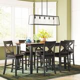 Darby Home Co Nadine 6 - Person Counter Height Dining Set Wood/Upholstered Chairs in Black/Brown, Size 36.0 H in | Wayfair DBHM5819 42512060