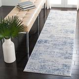 Highland Dunes Grandview Abstract Blue Area Rug Polyester/Polypropylene in White, Size 96.0 H x 26.0 W x 0.43 D in   Wayfair
