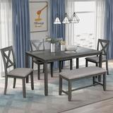August Grove® Horacia 6 - Piece Pine Solid Wood Breakfast Nook Dining Set Wood/Upholstered Chairs in Gray, Size 30.0 H in | Wayfair