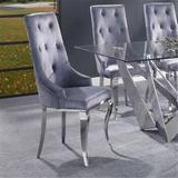 Rosdorf Park Dekel Side Chair (Set-2), Gray Fabric & Stainless Steel Upholstered in Gray/Green, Size 42.0 H x 20.0 W x 20.0 D in   Wayfair