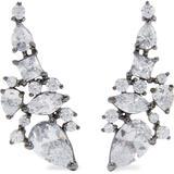 Hematite-plated Crystal Ear Cuffs - Metallic - Noir Jewelry Earrings