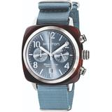 Briston Clubmaster Classic Chronograph Tortoise Shell Acetate, Ice Blue Dial - Blue - Briston Watches