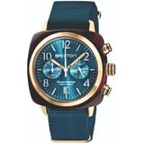 Briston Clubmaster Classic Chronograph Tortoise Shell Acetate, Sunray Peacock Blue Dial And Yellow Gold - Blue - Briston Watches