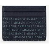 All Over Logo Credit Card Holder - Blue - Armani Exchange Wallets