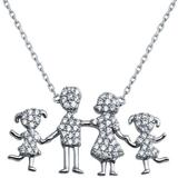 Sterling Silver Family Pendant Two Girls Necklace - Metallic - Cosanuova Necklaces