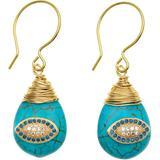 Evil Eye On Turquoise Stone Earrings - Blue - Farra Earrings