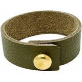 Mens Olive Green Leather Bracelet With Large Brass Button - Green - N'damus London Bracelets