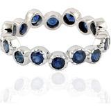 Natural Blue Sapphire Eternity Band Round Bezel Style In White 18k Gold. - White - Artisan Rings