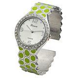 Blekon Collections Women's 33mm Case Hexagon Patterned Metal Bangle Watch (Green)