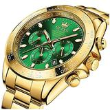 Automatic Watch Men Self Winding Watches for Men no Battery Luxury Classic Stainless Steel Wrist Watch Day Water Resistant Watches for Man OLEVS Gold Green Watches Swiss Mechanical Movement Watches