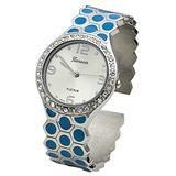 Blekon Collections Women's 33mm Case Hexagon Patterned Metal Bangle Watch (Blue)