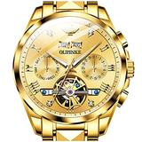 Automatic Watches for Men Luxury Tungsten Steel Tourbillon Swiss Mechanical Watch Men's Gold Wrist Watches Self-Winding Moon Phrase Week Calendar Display Skeleton 18K Gold Plated Watches for Men
