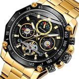 Forsining Mens Tourbillon Automatic Mechanical Self-Wind Luxury Moon Phase Stainless Steel 44mm Big Black Dial Wrist Watch, Gold Band Black dial
