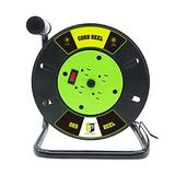Extension Cord Storage Reel with 4 Outlets,10A Circuit Breaker,Hand Wind Retractable,Heavy Duty Open Cord Reel for 12/3,14/3,16/3 Gauge Power Cord (Green/Black)