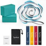 Syntus 9-in-1 Yoga Set, 1 Yoga Strap with 12 Loops, 2 EVA Foam Soft Non-Slip Yoga Blocks 9×6×4 inches,4 Resistance Bands with Instruction Book for Yoga, Pilates, Stretchings (Blue Teal)
