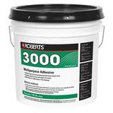 ROBERTS 3000-4 Adhesive, 4 gal, Pail, Tan, Latex Base, Begins to Harden in 1 hr