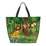 Wild Animal Cartoon Characters In The Forest One Shoulder Travel Bag Women Handbag Tote Bag Shoulder Bags Portable Satchel Bag