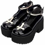 Women Platform Mary Jane Shoes Patent Leather Round Toe T-bar Buckle Strap Chunky Shoes Block Heel Anti-Skid Gothic Cosplay Leather Shoes