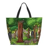 Wild Animal Cartoon Character In The Forest Scene 3 One Shoulder Travel Bag Women Handbag Tote Bag Shoulder Bags Portable Satchel Bag