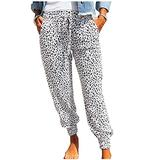 ROSKIKI Womens Plus Size Joggers Pants for Women with Pockets Comfy Leopard Print Drawstring Elastic Waist Sweatpants Workout Trousers Long Pants White 3X-Large