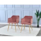 Dining Room Chairs Set of 2 - Upholstered Armchairs Accent Chairs for Living Room Arm Chairs, Comfortable Velvet Kitchen Dining Room Chairs with Metal Legs - (Pink)
