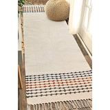 MOTINI Hand Woven Cotton Runner Rug 2' x 6', Knotted Bohemian Accent Throw Rug with Tassels, Natural Color Textured Runner Rug for Bedroom,Living Room,Laundry Room