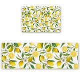"2-Pack Doormats Kitchen Mats Set, Summer Fresh Lemons Fruits Green Leaves Tiled Pattern Cushion Absorbent Front Door Mat Non Slip Rugs Runner Rug Set for Entryway, 15.7""x 23.6"" + 15.7""x 47.2"""