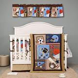 9 PCs Brown Sports Theme Nursery Crib Bedding Set Baby Boy Ruby Baseball Crib Bedding Set
