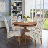 Red Barrel Studio® Dining Chair Set Of 4 Fabric Padded Side Chair w/ Solid Wood Legs, Nailed Trim(Floral) Wood/Upholstered/Fabric in Blue/Brown