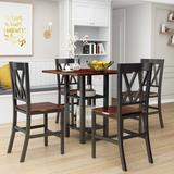 Gracie Oaks 5 Piece Dining Set w/ Double Shelf & Matching Chairs For Family Use, Dining Room Furniture Set, Black in Brown/Black | Wayfair